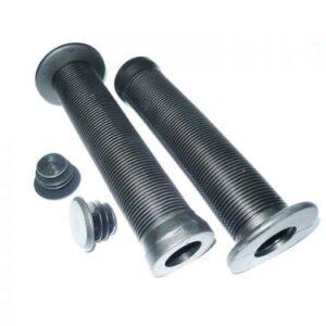 Грипсы ВМХ. VLX-G51 с фланцами, чёрные с заглушками, 145мм